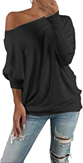 Women's Casual Off Shoulder Solid Color Tops O Neck Long Sleeve Shirt Blouse