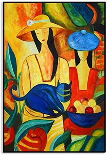 Sunsightly Impresión sobre lienzo Picasso famosa cuadros de pared modernos pintados decoración sala de estar póster decoración vivienda moderna sin marco 50 x 70 cm (20 x 28 pulgadas)