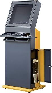 QUIPO Poste informatique - h x l x p 1600 x 650 x 600 mm - gris ardoise/jaune melon - armoire informatique compartiment éc...