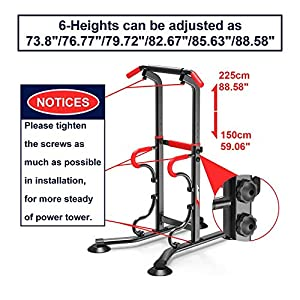 EASY BIG Multifunctional Power Tower Adjustable Heights Workout Dip Station for Adults and Kids Home Gym Strength Training Fitness Equipment Newer Version (Black/Red)