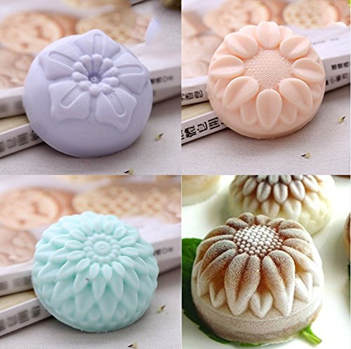 Kakasogo 2 PCS 6 Cavity Assorted Flower Shapes Silicone Soap Mold for Handmade DIY Cake Chocolate Cupcake Biscuit Bath Bomb Bread Muffin Candle Ice Cube Making Mould Tool Set(Pink and Purple)