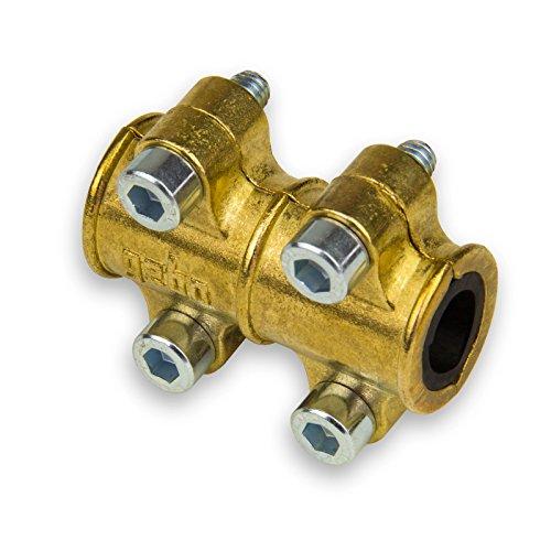 Stabilo-Sanitaer Reparaturschelle 15 mm Dichtschelle Dichtungsschelle Messing Dichtungsband Reparatur Kupferrohr Heizungsrohr reparieren