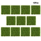 Césped Artificial, 10 Unidades, 7,5 x 7,5 cm, Hierba Artificial de plástico, para Micro Paisaje/Botella/terario/decoración de Plantas, Color Verde