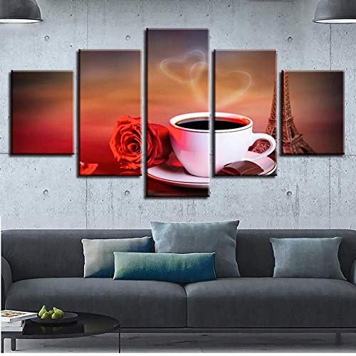 GWFVA Modulaire Canvas Print 5 Panel Liefde Roze Koffie En Bonen Foto's Woonkamer Muurschildering Poster Voor Home Decor, A, 20X35X2XXXXX20X55X1