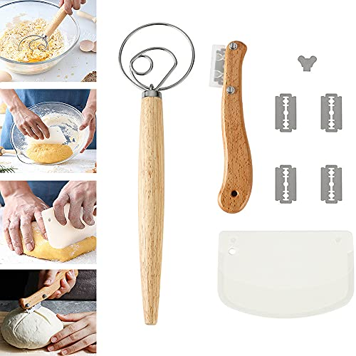 Cuchillo panadero,Danesa-Cuchilla de Pan,Cuchillo para masa con 4 cuchillas reemplazables de acero inoxidable, cocina para hornear masa de pan de bricolaje.