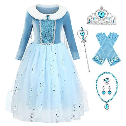 O.AMBW Vestidos de Princesa Azul con Capa Larga de Arrastre como Novia con 3 Combinaciones de Accesorios Perfectos para Regalos Ceremonia Boda Halloween Reyes de Navidad para Nias de 2 a 9 aos