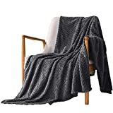 Exclusivo Mezcla Large Flannel Fleece Throw Blanket, Jacquard Weave Leaves Pattern (50' x 70', Grey) - Soft, Warm, Lightweight and Decorative