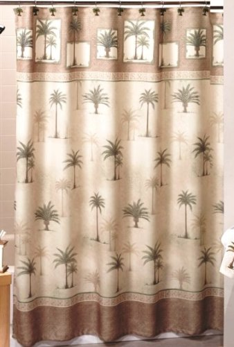 Brown Tropical West Palm Trees - Fabric Shower Curtain