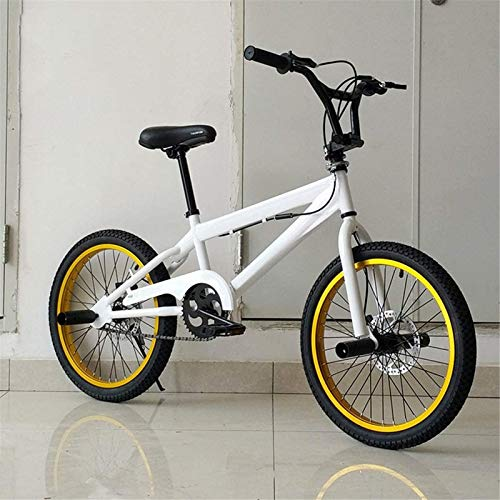 HCMNME Durable Bicycle Professional Grade 20-Inch BMX Race Bike, Stunt Action BMX Bicycle, Suitable for Beginner-Level to Advanced Riders Street BMX Bikes Alloy Frame with Disc Brakes