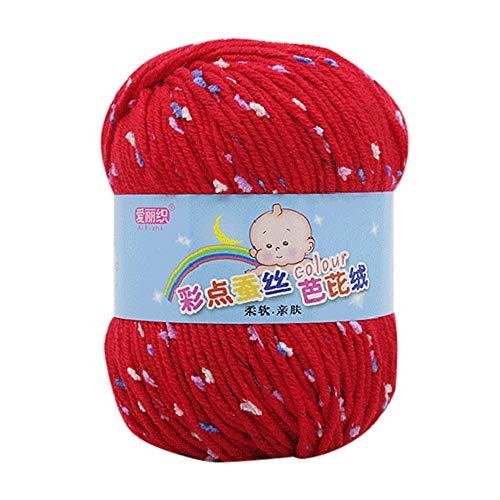 FeiliandaJJ 50g Wolle Zum Stricken & Häkeln Handstrickgarn,65% Seide Wolle + 35% Wolle,Mehrfarbig Punkt Wolle Perfekt für Hüte Pullover Schal - 12 Farben (H)