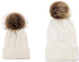 MIOIM 2PCS Parent-Child Hat Warmer Family Winter Warm Matching Hat with Pom Pom Crochet Beanie Ski Cap