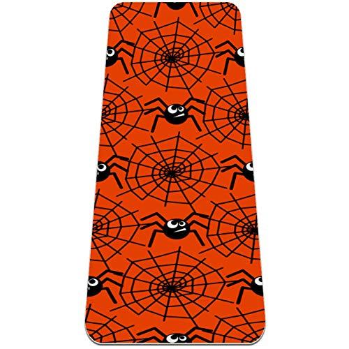 Esterilla de yoga antideslizante de 0,6 cm de grosor con correa de transporte para todo tipo de ejercicio, yoga y pilates (72 x 24 x 6 mm de grosor) dibujos animados Black Spider