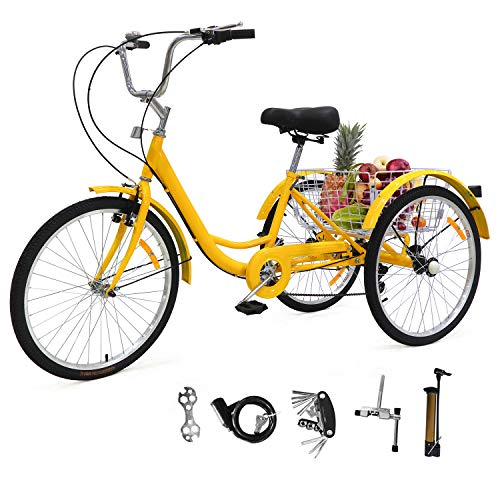 EOSAGA Adult Tricycle 24/26 Inch 7 Speed Trike Cruiser Bike Three-Wheeled Cruiser Bicycles for Shopping, Recreation with Basket, Full Assemble Tools (Yellow w/26'' Wheel)