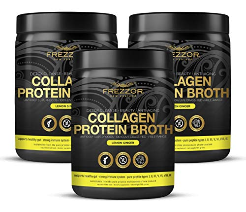 Collagen Protein Bone Broth, 100% Grass-Fed New Zealand Bovine Collagen Peptides Type I II III V VI VIII IX, Joint Pain, Anti-Aging, Weight-Loss, Improves Digestion, Lemon Ginger Flavor, 3-Pack