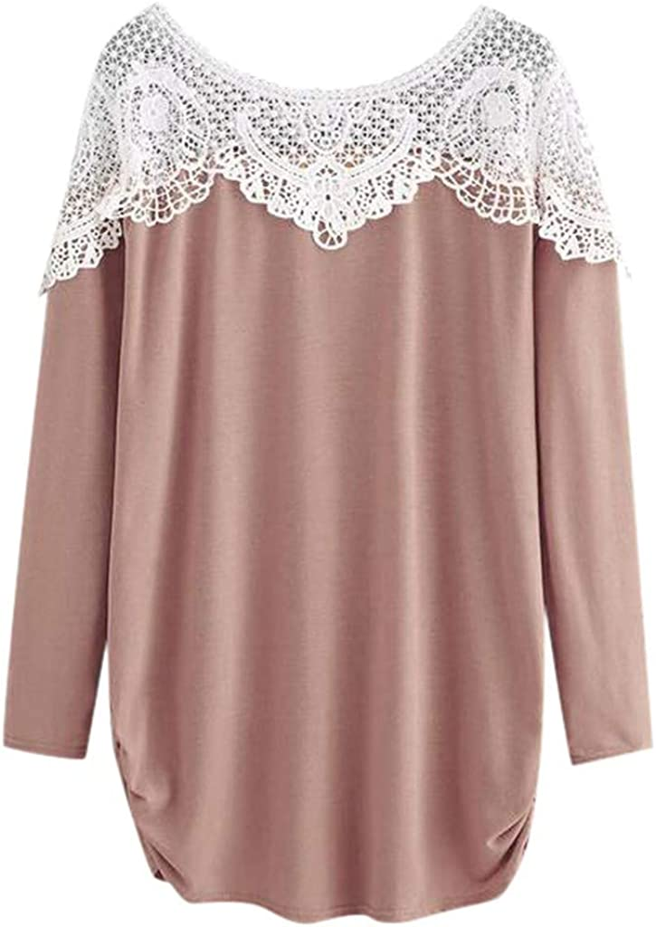 aihihe Plus Size Long Sleeve Tops for Women Lace Patchwork Blouse Tops Crew Neck Casual Loose Tunic Pullover T Shirts Pink