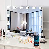 HOMPEN Bluetooth Makeup Mirror with Lights and Speaker Hollywood Vanity Mirror, Touch Screen, 3 Color Modes Frameless Tabletop Mirror with 12 Dimmable Bulbs (White)