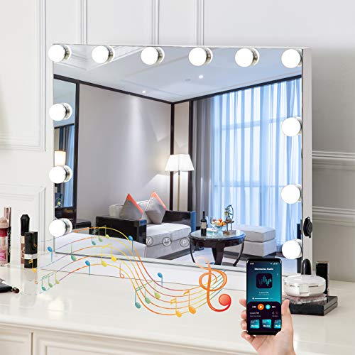 HOMPEN Lighted Vanity Mirror with Light, Lighted Makeup Mirror with LED Dimmable Bulbs, Hollywood Large Mirror with Bluetooth Speaker-White