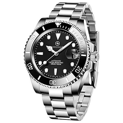 BERSIGAR Automatic Divers beobachtet die analoge Automatik-Uhr der Männer mit Edelstahlband