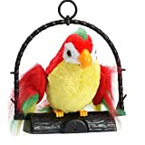 QinMM Lengua de Loro Grabación eléctrica Juguete de Peluche Regalo Agitando Las alas Hablando Habla Loro Imita y Repite lo Que Dices para bebé niño