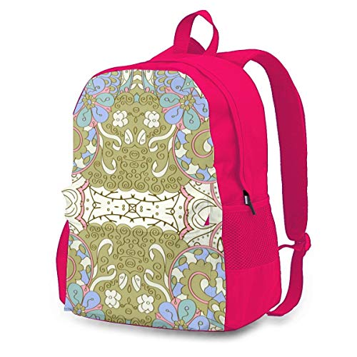 Casual Backpack Tracery Seamless Calming Pattern. Shoulder Laptop School College Backpack Bag Bookbags,Pink