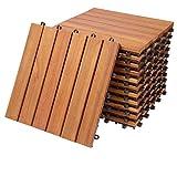 Deuba Set de 11 baldosas'Clásico' de madera de Eucalipto 30 x 30 cm por 1m² losas de terraza jardín balcón spa