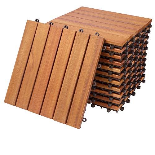 Deuba Set de 11 baldosas 'Clásico' de madera de Eucaliptus 30x30cm por 1m² para losas de terraza decks jardín balcón o spa