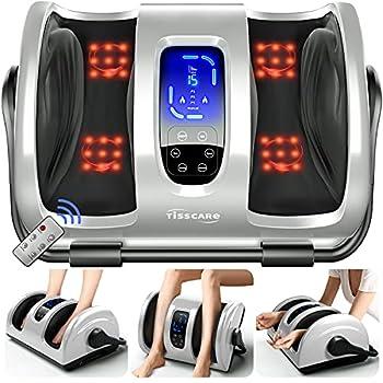 TISSCARE Shiatsu Foot Massager Machine w/ Remote & Heat for Plantar Fasciitis & Neuropathy Deep Kneading Calf Massage Leg Massager Promote Blood Circulation & Pain Relief & Better Sleep