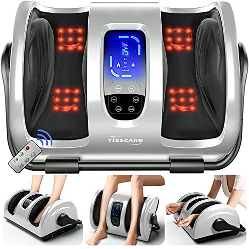 TISSCARE Shiatsu Foot Massager Machine w/ Remote & Heat for Plantar Fasciitis & Neuropathy, Deep Kneading Calf Massage, Leg Massager, Promote Blood Circulation & Pain Relief & Better Sleep