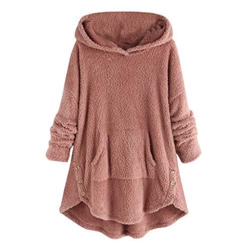 Lazzboy Frauen Vlies Knopf Rand Plus Größen Hoodie Spitzenstrickjacke Bluse Damen Wärme Pullover Flauschige Kapuzenpullover Mantel Fleece Fell Sweatshirt Parka(Rosa,5XL)