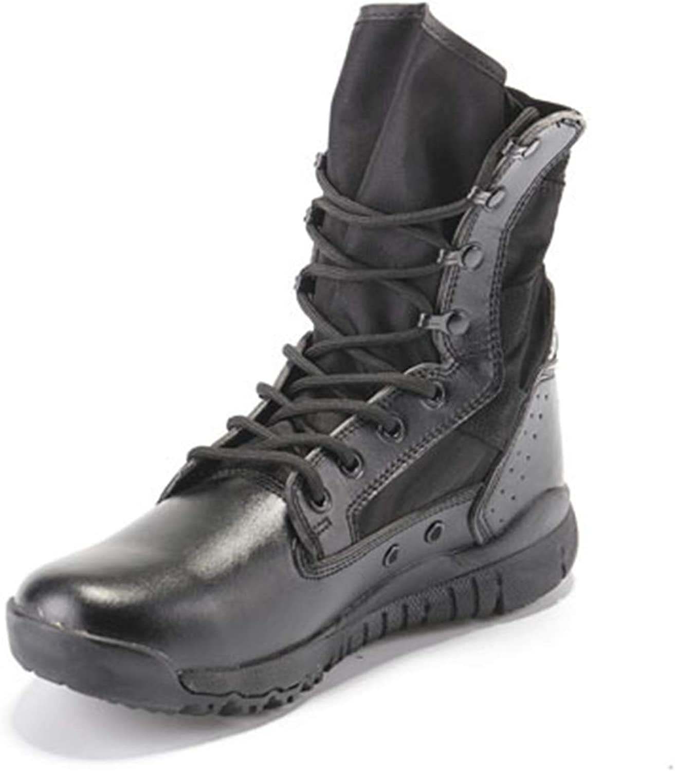 HNGLXQ Combat Boots G-38 Leather Side Zip Army Tactical Boots Delta Military Work Army shoes Safety Ankle Boots Breathable Commando Outdoor Desert Tactical Military Patrol Boots,Black-EU38