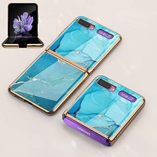 BaiFu Superdünne Hülle für Samsung Galaxy Z Flip Handyhülle PC + 9H Gehärtete Glasabdeckung All-Inclusive Anti-Fall Limited Edition Stoßfester Schutz für Samsung Galaxy Z Flip-Blauer See