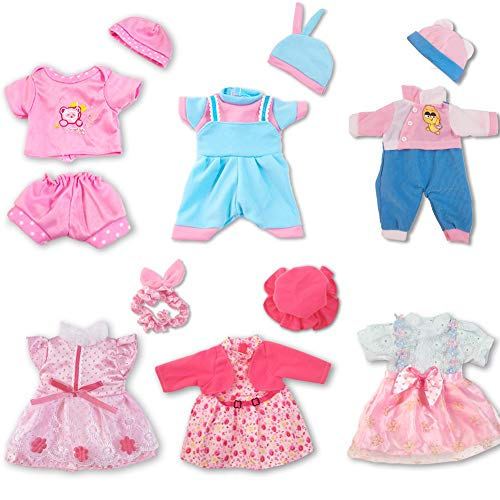 ARTST Doll Clothes,12 inch Baby Doll Clothes[6 Sets](Include 4 Hats + 1 Bowknot ) Compatible with 10 inch Dolls /11 inch Baby Dolls/ 12 inch Baby Dolls/12 inch Baby-Alive-Dolls