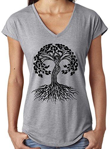 Yoga Clothing For You Ladies Black Celtic Tree V-Neck Tee, Medium Heather Grey