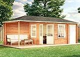 Alpholz 5 Eck Gartenhaus Rhein-40 - Massivholz Blockhaus mit Anbau - Gartenhütte inkl. 2 Echtglas Fenster - 5Eck Blockhütte & Boden ohne Imprägnierung