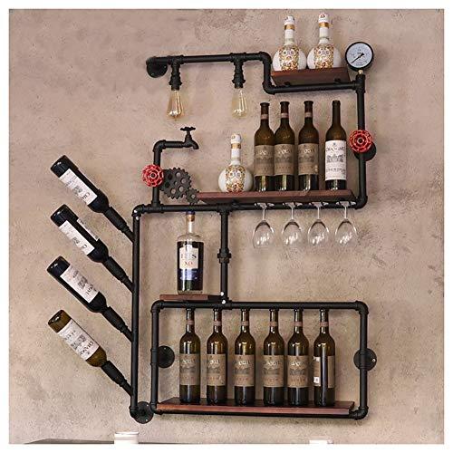 Wine rack H-Botellero Botellero Botellero De Pared Vino Estilo Industrial Botellero Hierro Pipa De Agua Madera Maciza Marco De La Pared Comedor Barra De La Sala (Size : #3)