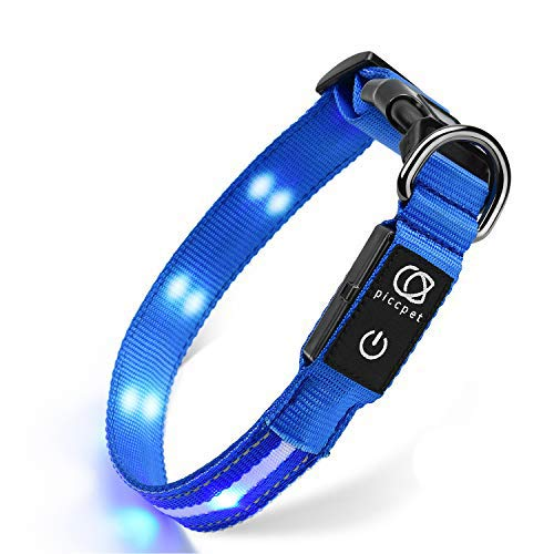 piccpet LED Dog Collar, USB Rechargeable & Water...