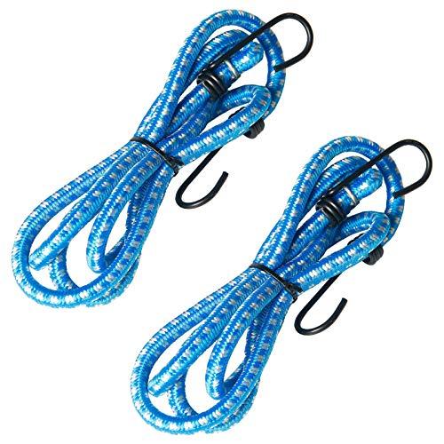 2 piezas 1,4 m de alta goma elástica cuerda de equipaje vendaje con revestimiento de plástico reforzado gancho de acero perfecto para camping lonas herramientas bicicletas coches (azul)