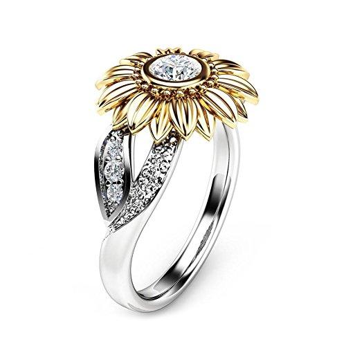 1 ST Mode Elegante Ring, 4 Maten Modieuze Vrouwelijke Koperen Ring Engagement Ronde Zonnebloem Ring Trouwring Vintage met Zirkoon Decoratie Vrouwen Meisjes Gift(6#)