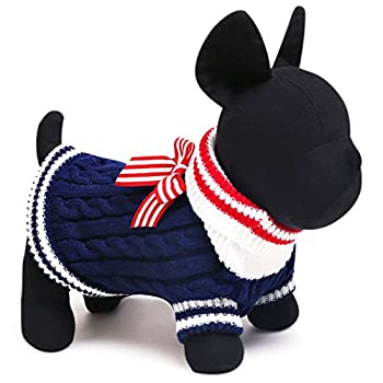 SMALLLEE_Lucky_Store Pull Pull-Overs Veste Vêtement Tricot Manteau d'hiver pour Chihuahua Petit Chien Chaton Chat Bleu Marine XXS