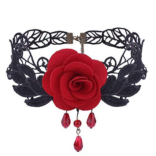 Gbell Halskette mit Anhänger, romantisch, Schwarz/Rot, Rose, für Hochzeit, Hochzeit, Party, Jahrestag, Verlobung, GB-0015, rot, m
