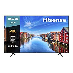 Hisense 75-Inch Class H6570G 4K Ultra HD Android Smart TV with Alexa Compatibility | 2020 Model