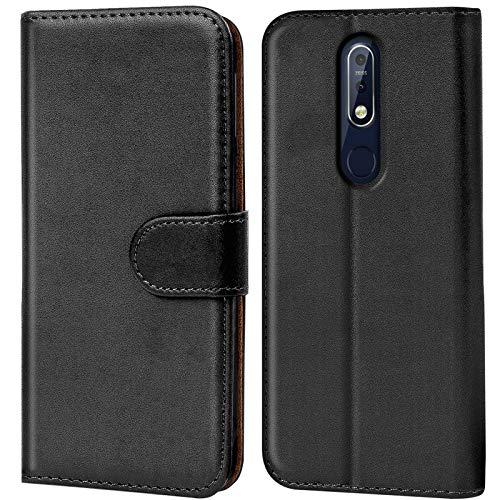 Conie Handyhülle für Nokia 7.1 Hülle, Premium PU Leder Flip Hülle Booklet Cover Weiches Innenfutter für 7.1 Tasche, Schwarz