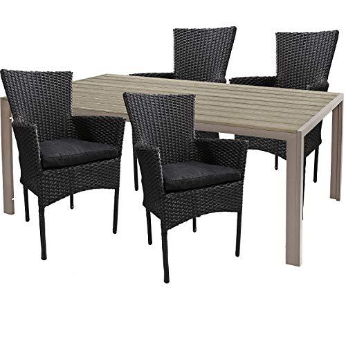 Mojawo hoogwaardige tuinset 5-delig tuintafel 180x90cm champagne aluminium/polywood champagne + 4 rotan stoelen zwart