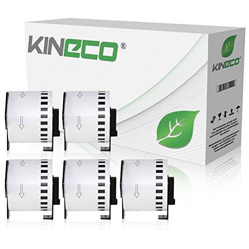 Kineco 5X Endlos-Etikett kompatibel für Brother DK22205 62mm x 30,48m P-Touch QL-1050 1060N 500 550 560 570 580 700 500 A BS BW 560 VP YX 580N 650TD 710W 720NW