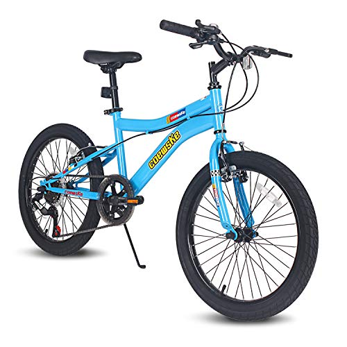 COEWSKE 20 Inch Kids Bike Enjoy-Style Children's Variable Speed Mountain Bike Sports Cycling 1 Speed & 6 Speed with Kickstand Fit for 6-10 Years Old Or 49-60 Inch Tall Kids (6-Speed Sky Blue)