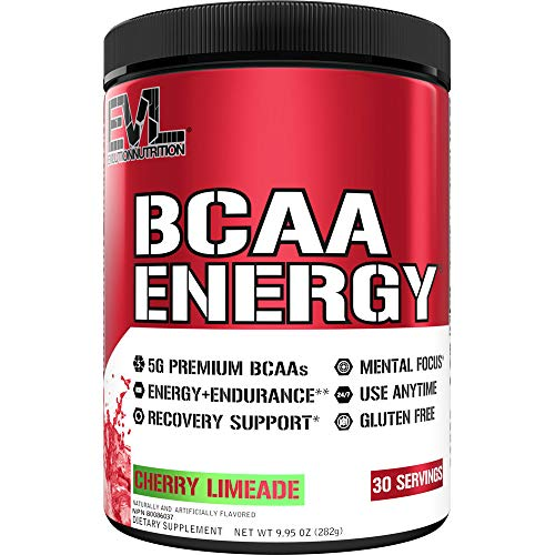 Evlution Nutrition BCAA Energy - Essential BCAA Amino Acids, Vitamin C & Natural Energizers, Performance, Immune Support, Muscle Building, Recovery, B Vitamins, Pre Workout, 30 Serve, Cherry Limeade