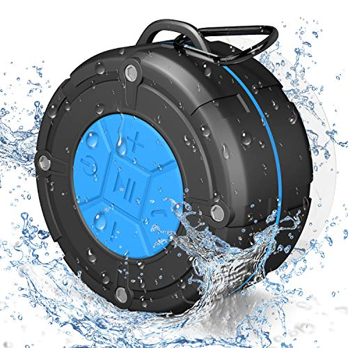 IPX7 Shower Speaker Bluetooth Waterproof 8H Playtime, PEYOU Portable Wireless Outdoor Speaker with Suction Cup & Carabiner?Bass HD Sound?Built in Mic? Bluetooth Speaker For Bathroom,Pool,Beach,Cycling
