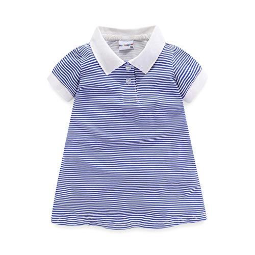 Mud Kingdom Baby Girl Active Dress Stripe Navy Blue Short Sleeve 18-24 Months