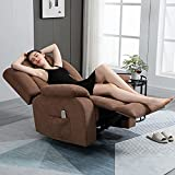 AVAWING Fabric Recliner Chair with Heat and Massage,Ergonomic Home Sofa with Remote Control for Living Room Bedroom Home and Office (Chocolate)