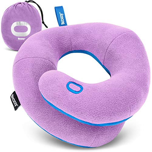 BCOZZY Kids Chin Supporting Travel Pillow for 3-7 Y/O -Stops The Head from Falling Forward– Comfortable Road Trip Essential. Soft, Washable, Small Size, Light Purple